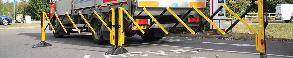 Titan expanding barriers barricading a truck