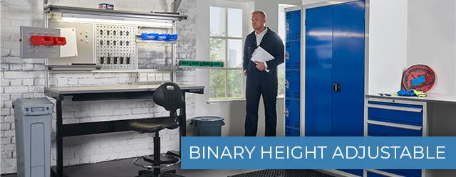 Binary Height Adjustable Workbenches