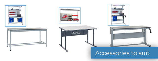 Accessories for height adjustable workbenches