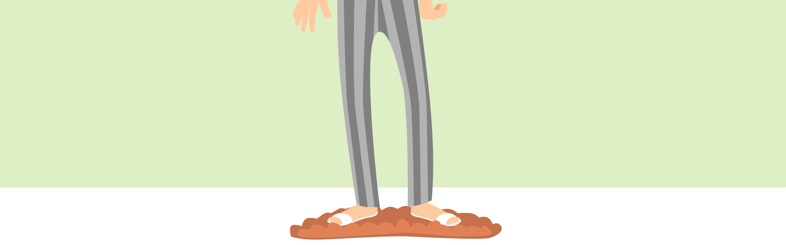 Character in pyjamas and slippers.